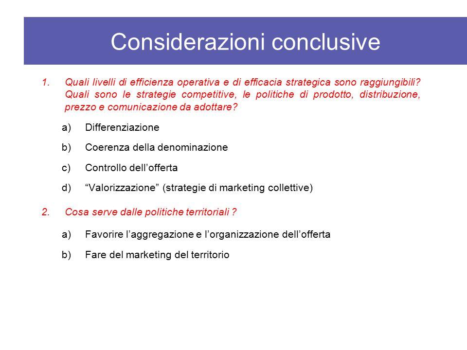 1.Quali livelli di efficienza operativa e di efficacia strategica sono raggiungibili? Quali sono le strategie competitive, le politiche di prodotto, d