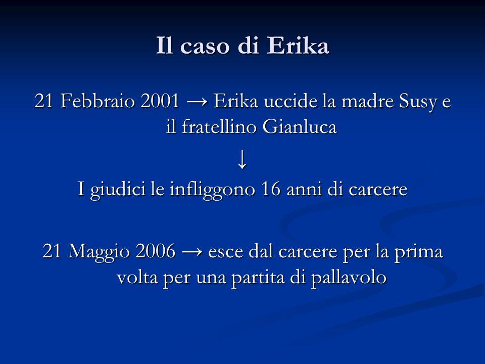 Il caso di Erika 21 Febbraio 2001 → Erika uccide la madre Susy e il fratellino Gianluca ↓ I giudici le infliggono 16 anni di carcere 21 Maggio 2006 → esce dal carcere per la prima volta per una partita di pallavolo