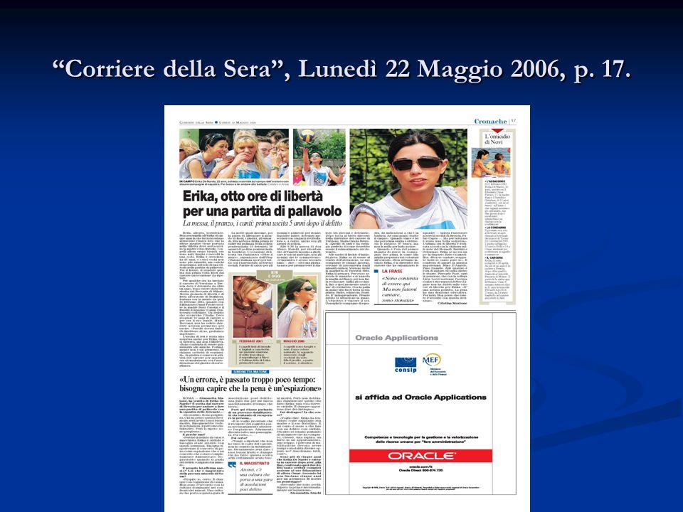 """""""Corriere della Sera"""", Lunedì 22 Maggio 2006, p. 17."""