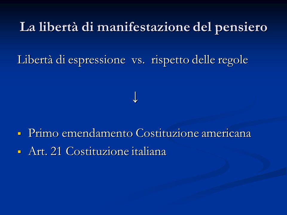 La libertà di manifestazione del pensiero Libertà di espressione vs. rispetto delle regole ↓  Primo emendamento Costituzione americana  Art. 21 Cost