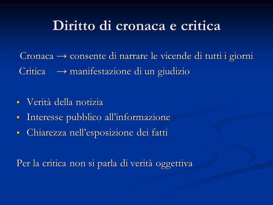 Diritto di cronaca e critica Cronaca → consente di narrare le vicende di tutti i giorni Critica → manifestazione di un giudizio Critica → manifestazio