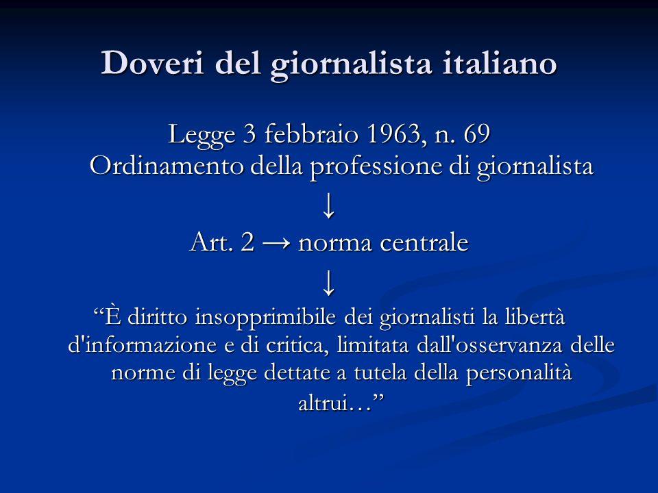 """Doveri del giornalista italiano Legge 3 febbraio 1963, n. 69 Ordinamento della professione di giornalista ↓ Art. 2 → norma centrale ↓ """"È diritto insop"""