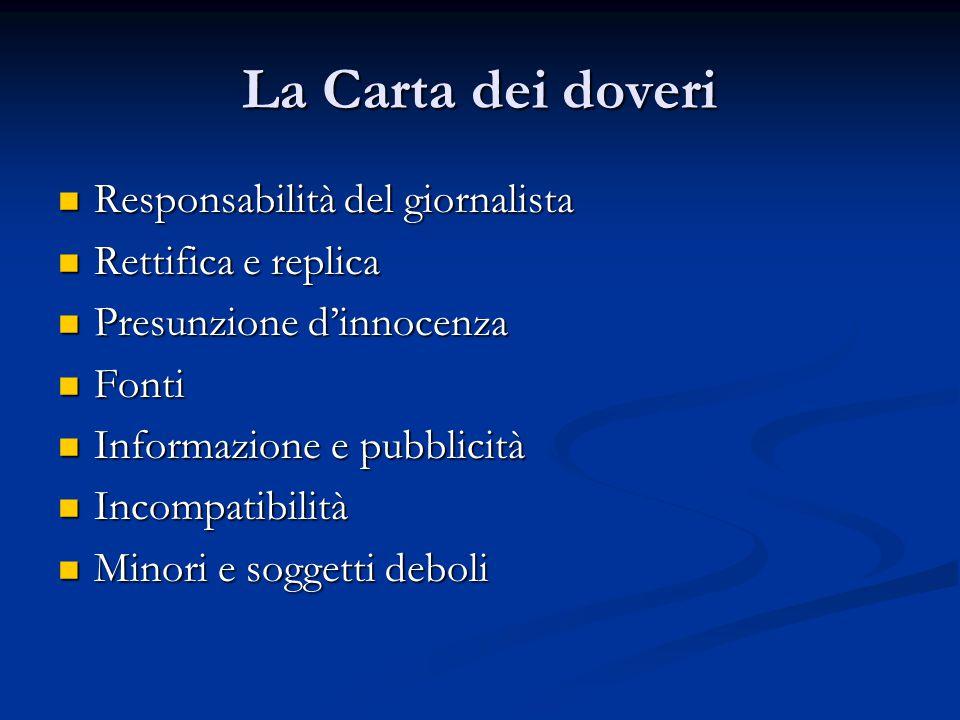 La Carta dei doveri Responsabilità del giornalista Responsabilità del giornalista Rettifica e replica Rettifica e replica Presunzione d'innocenza Pres