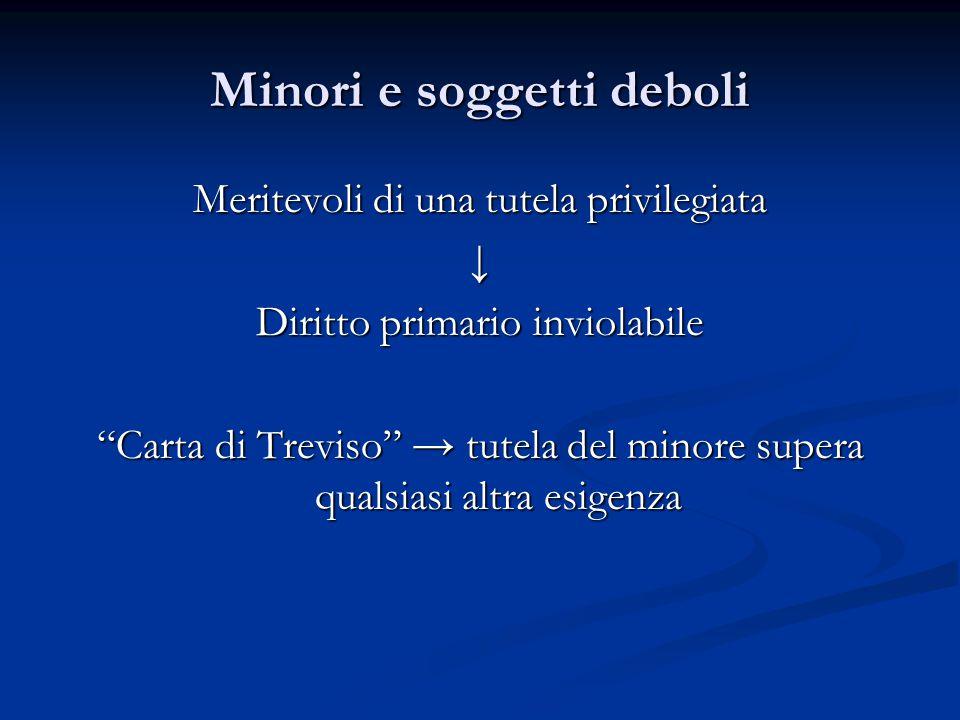 Minori e soggetti deboli Meritevoli di una tutela privilegiata ↓ Diritto primario inviolabile Carta di Treviso → tutela del minore supera qualsiasi altra esigenza