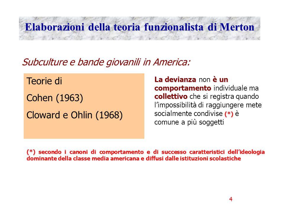 4 Elaborazioni della teoria funzionalista di Merton Subculture e bande giovanili in America: Teorie di Cohen (1963) Cloward e Ohlin (1968) La devianza