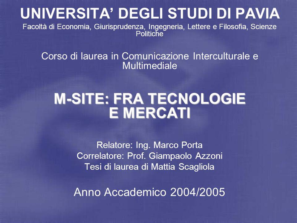 Mattia Scagliola M-site: fra tecnologie e mercati 2 Mobile-site: documento ipertestuale, generalmente multimediale, visualizzabile su un telefono cellulare attraverso un micro-browser.