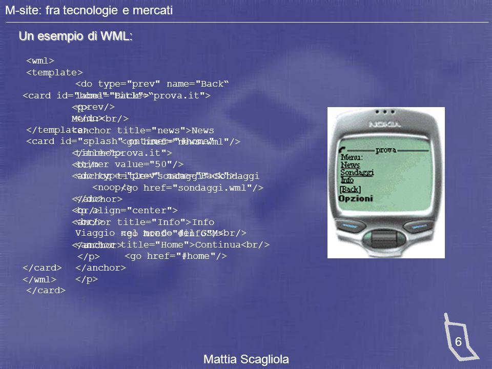 M-site: fra tecnologie e mercati Mattia Scagliola 7 Contestualizzare l'M-site Necessità di capire le esigenze del mercato in cui è inserito.