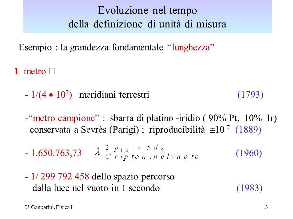 """U.Gasparini, Fisica I3 Esempio : la grandezza fondamentale """"lunghezza"""" 1 metro  - 1/(4  10 7 ) meridiani terrestri (1793) -""""metro campione"""" : sbarr"""