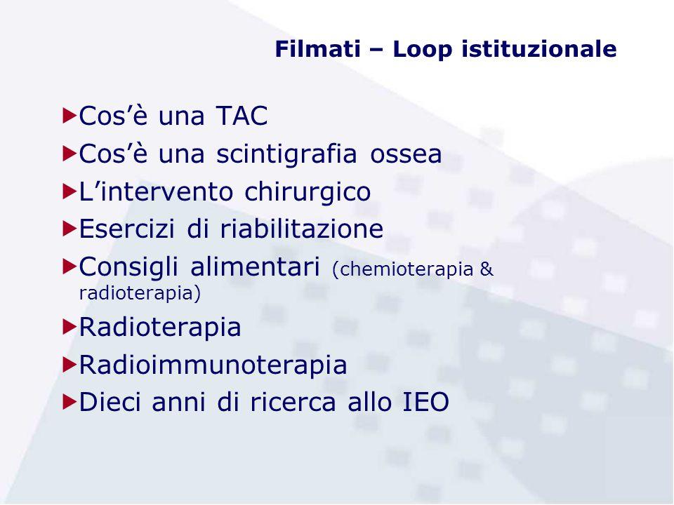 Filmati – Loop istituzionale  Cos'è una TAC  Cos'è una scintigrafia ossea  L'intervento chirurgico  Esercizi di riabilitazione  Consigli alimenta