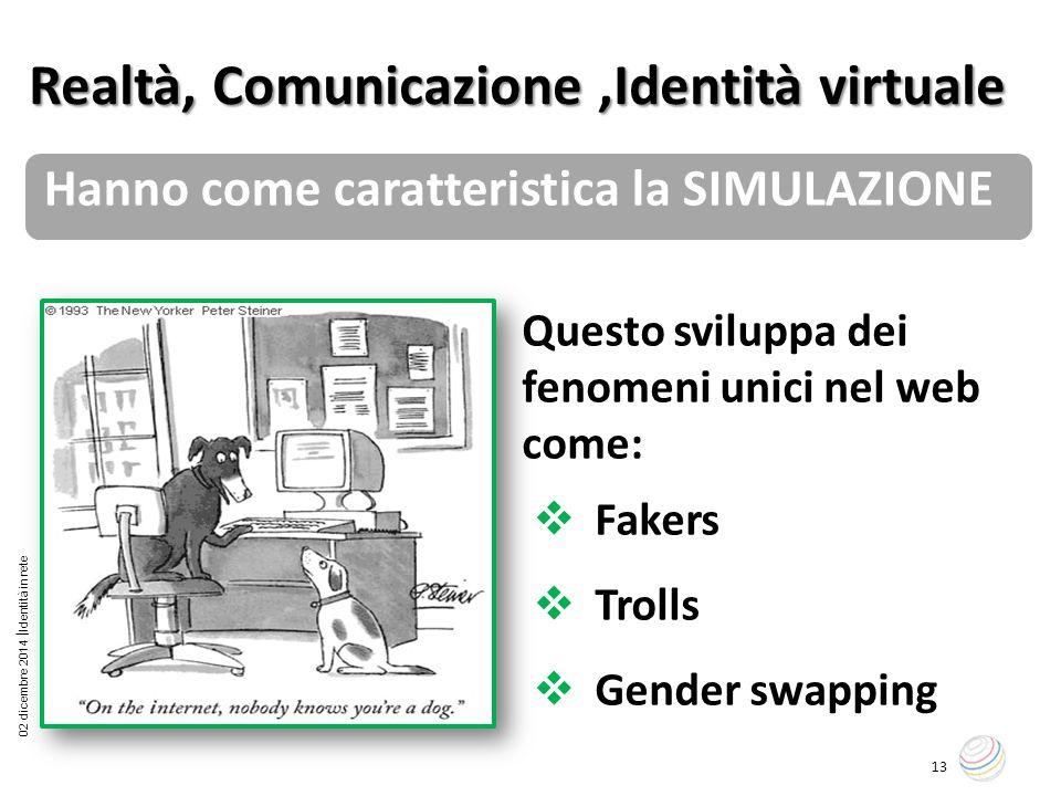 02 dicembre 2014  Identità in rete 13 Questo sviluppa dei fenomeni unici nel web come:  Fakers  Trolls  Gender swapping Realtà, Comunicazione,Iden