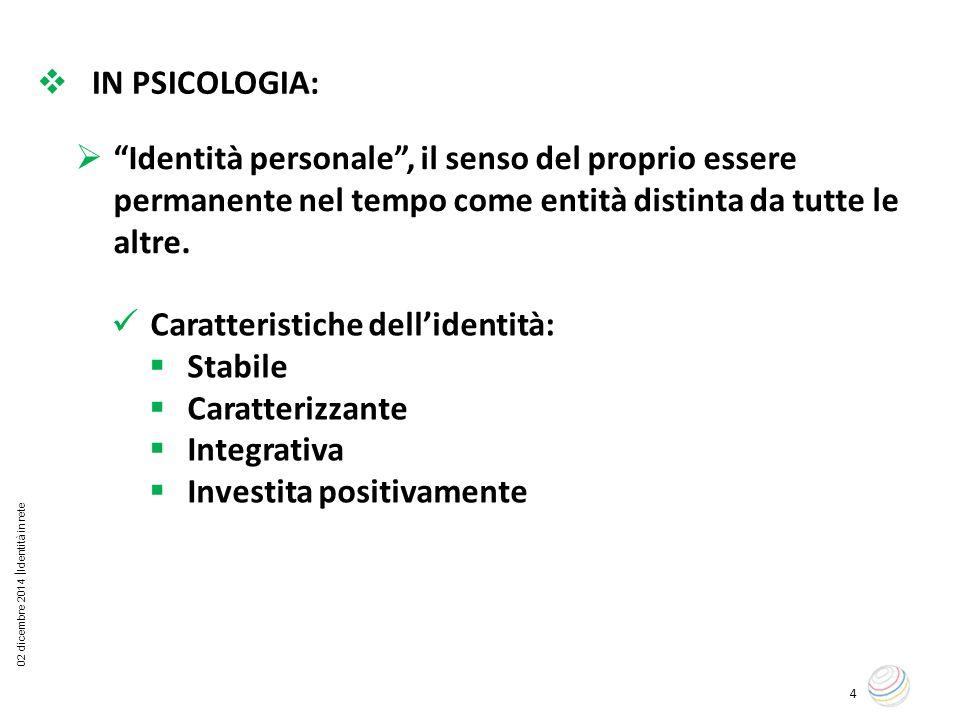 02 dicembre 2014  Identità in rete 4  IN PSICOLOGIA: Caratteristiche dell'identità:  Stabile  Caratterizzante  Integrativa  Investita positivame