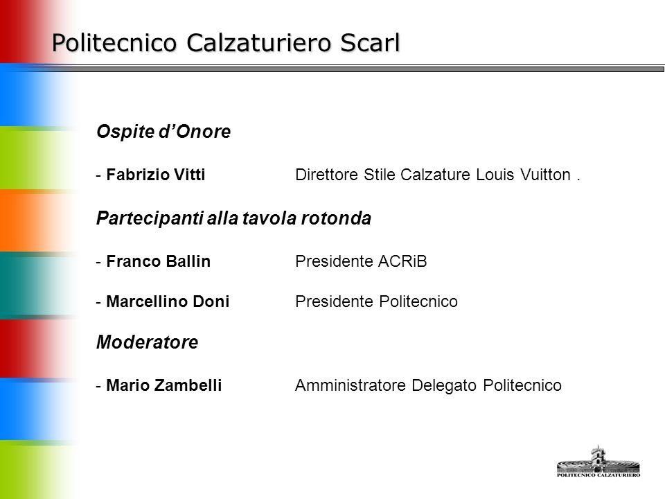Il Politecnico Calzaturiero Scarl Franco Ballin Presidente ACRIB Franco Ballin che è sempre vicino alla Scuola non solo come presidente dell'Associazione di Categoria, ma, anche, e soprattutto per propri convincimenti personali.