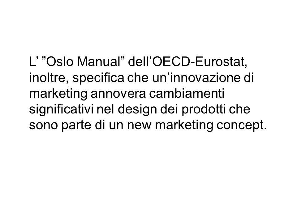 """L' """"Oslo Manual"""" dell'OECD-Eurostat, inoltre, specifica che un'innovazione di marketing annovera cambiamenti significativi nel design dei prodotti che"""