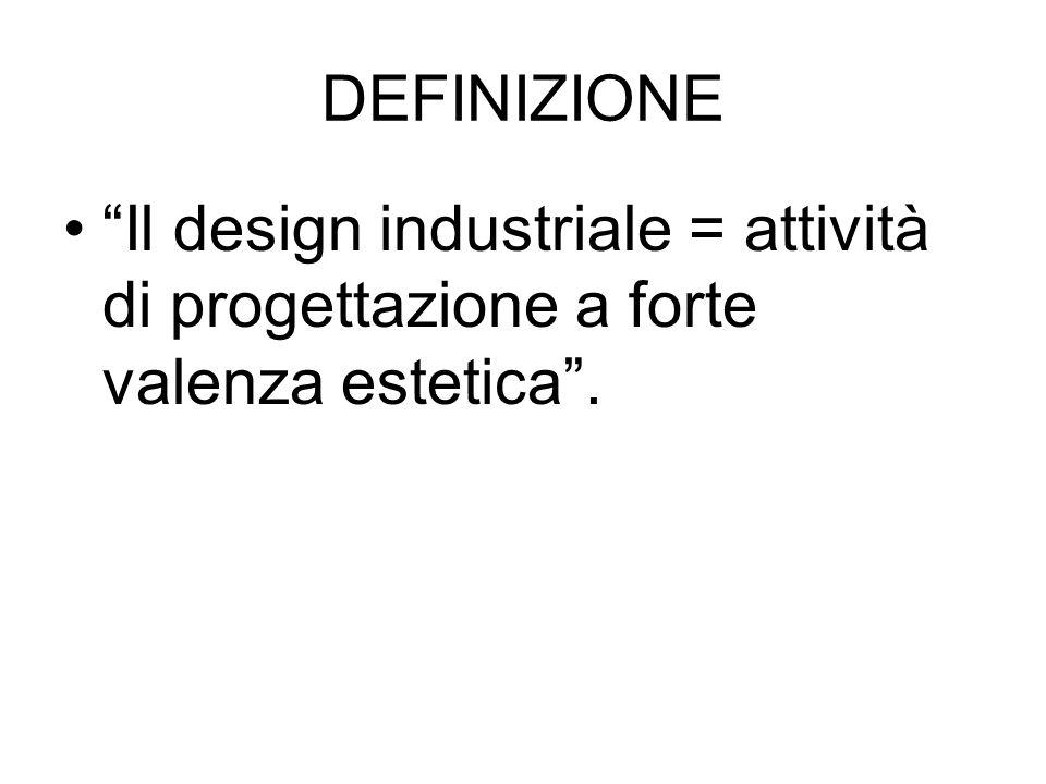 """DEFINIZIONE """"Il design industriale = attività di progettazione a forte valenza estetica""""."""