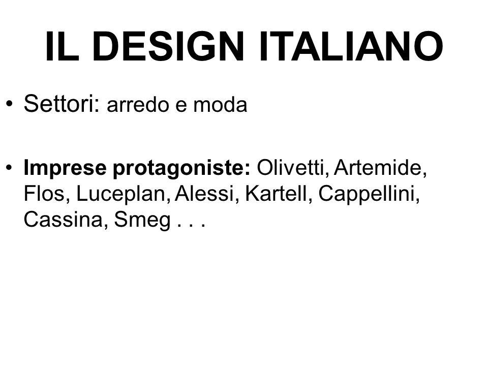 IL DESIGN ITALIANO Settori: arredo e moda Imprese protagoniste: Olivetti, Artemide, Flos, Luceplan, Alessi, Kartell, Cappellini, Cassina, Smeg...
