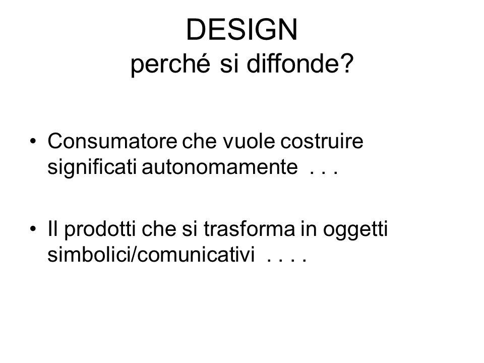 DESIGN perché si diffonde? Consumatore che vuole costruire significati autonomamente... Il prodotti che si trasforma in oggetti simbolici/comunicativi