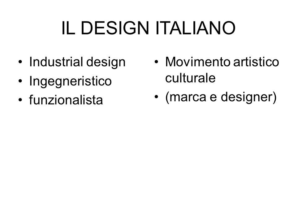 IL DESIGN ITALIANO Industrial design Ingegneristico funzionalista Movimento artistico culturale (marca e designer)