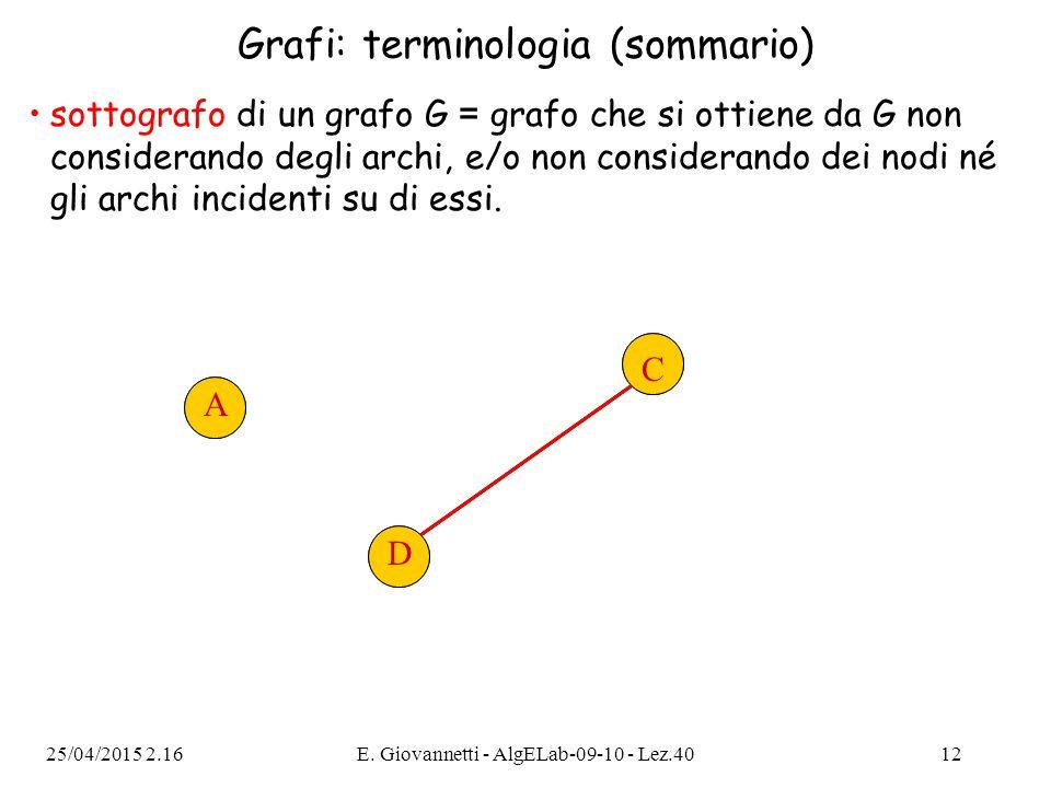 25/04/2015 2.18E. Giovannetti - AlgELab-09-10 - Lez.4012 Grafi: terminologia (sommario) sottografo di un grafo G = grafo che si ottiene da G non consi
