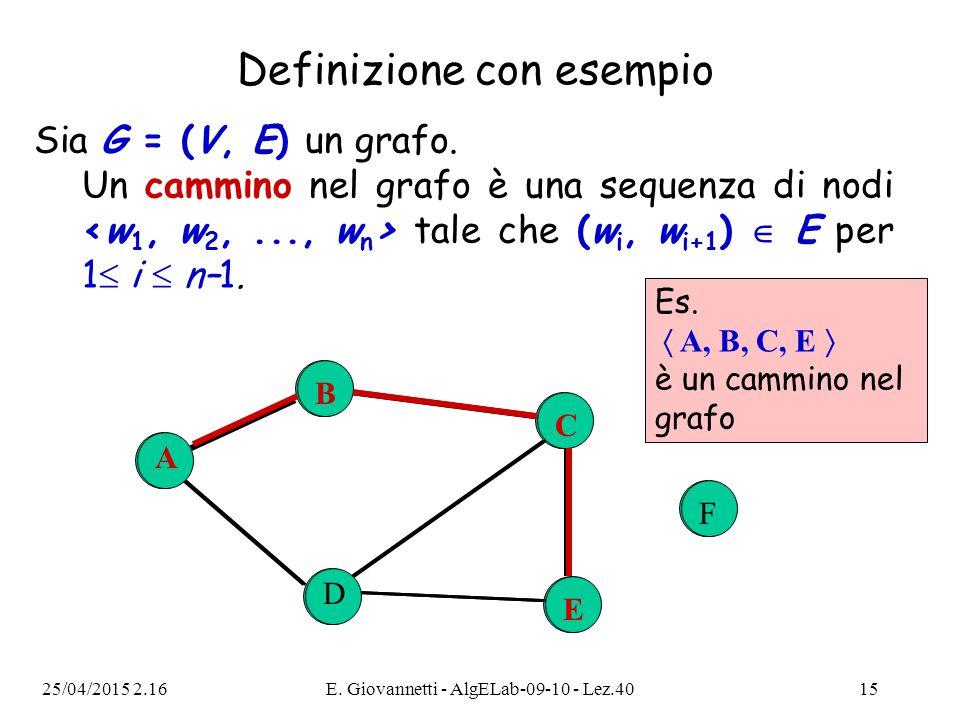 25/04/2015 2.18E. Giovannetti - AlgELab-09-10 - Lez.4015 Sia G = (V, E) un grafo. Un cammino nel grafo è una sequenza di nodi tale che (w i, w i+1 ) 