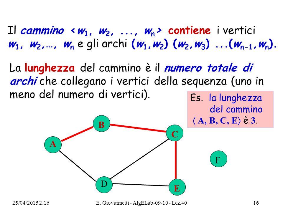 25/04/2015 2.18E. Giovannetti - AlgELab-09-10 - Lez.4016 A B C F D E Es. la lunghezza del cammino  A, B, C, E  è 3. Il cammino contiene i vertici w