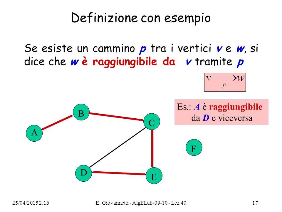 25/04/2015 2.18E. Giovannetti - AlgELab-09-10 - Lez.4017 Definizione con esempio Se esiste un cammino p tra i vertici v e w, si dice che w è raggiungi
