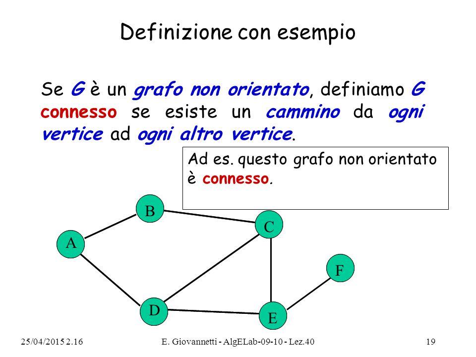 25/04/2015 2.18E. Giovannetti - AlgELab-09-10 - Lez.4019 Se G è un grafo non orientato, definiamo G connesso se esiste un cammino da ogni vertice ad o