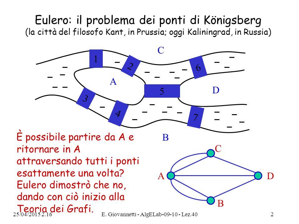 25/04/2015 2.18E. Giovannetti - AlgELab-09-10 - Lez.402 Eulero: il problema dei ponti di Königsberg (la città del filosofo Kant, in Prussia; oggi Kali