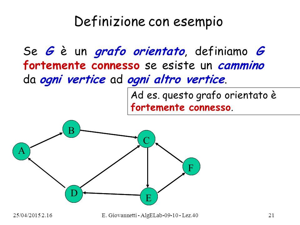 25/04/2015 2.18E. Giovannetti - AlgELab-09-10 - Lez.4021 Se G è un grafo orientato, definiamo G fortemente connesso se esiste un cammino da ogni verti