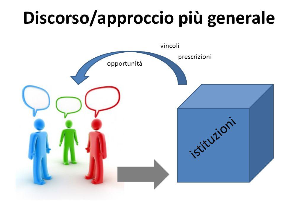 istituzioni Discorso/approccio più generale vincoli prescrizioni opportunità
