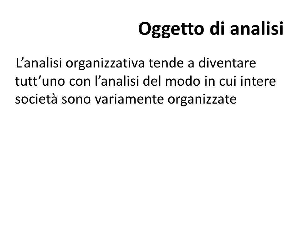 Oggetto di analisi L'analisi organizzativa tende a diventare tutt'uno con l'analisi del modo in cui intere società sono variamente organizzate