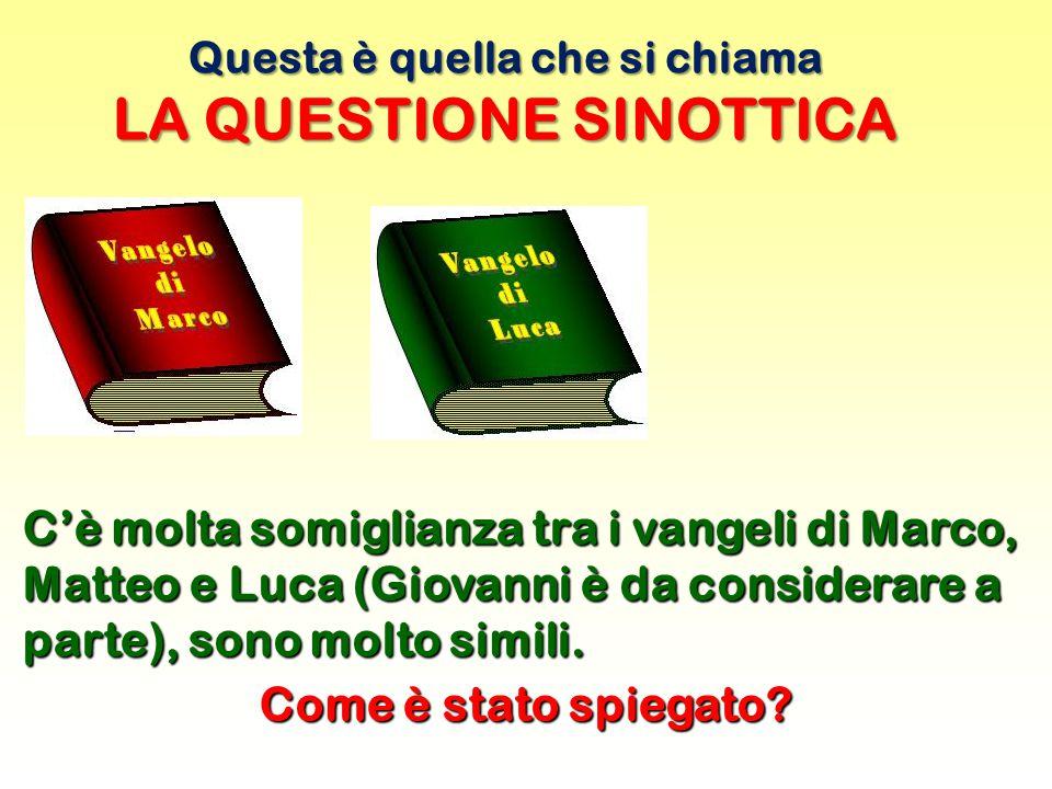 Questa è quella che si chiama LA QUESTIONE SINOTTICA C'è molta somiglianza tra i vangeli di Marco, Matteo e Luca (Giovanni è da considerare a parte), sono molto simili.