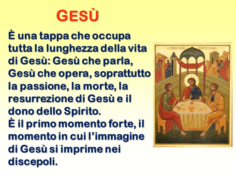 G ESÙ È una tappa che occupa tutta la lunghezza della vita di Gesù: Gesù che parla, Gesù che opera, soprattutto la passione, la morte, la resurrezione di Gesù e il dono dello Spirito.