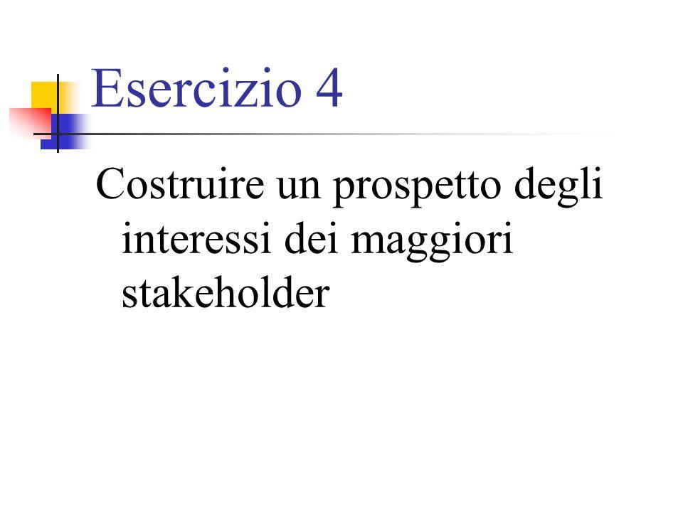Esercizio 4 Costruire un prospetto degli interessi dei maggiori stakeholder