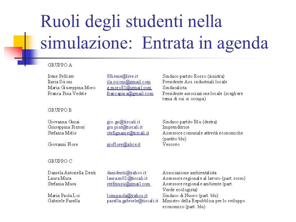 Ruoli degli studenti nella simulazione: Entrata in agenda