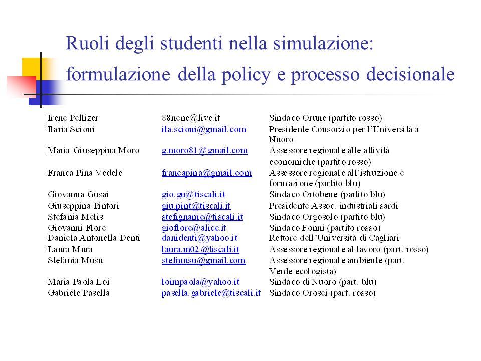 Ruoli degli studenti nella simulazione: formulazione della policy e processo decisionale
