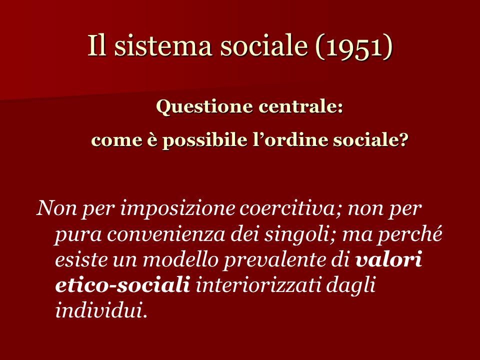 Il sistema sociale (1951) Non per imposizione coercitiva; non per pura convenienza dei singoli; ma perché esiste un modello prevalente di valori etico-sociali interiorizzati dagli individui.