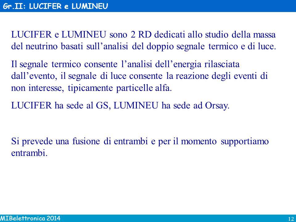 MIBelettronica 2014 12 Gr.II: LUCIFER e LUMINEU LUCIFER e LUMINEU sono 2 RD dedicati allo studio della massa del neutrino basati sull'analisi del doppio segnale termico e di luce.
