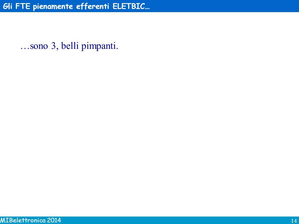 MIBelettronica 2014 14 Gli FTE pienamente efferenti ELETBIC… …sono 3, belli pimpanti.