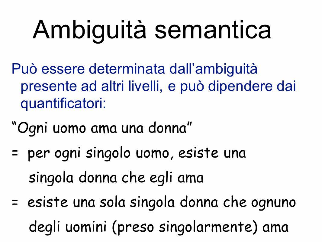 Ambiguità semantica Può essere determinata dall'ambiguità presente ad altri livelli, e può dipendere dai quantificatori: Ogni uomo ama una donna = per ogni singolo uomo, esiste una singola donna che egli ama = esiste una sola singola donna che ognuno degli uomini (preso singolarmente) ama
