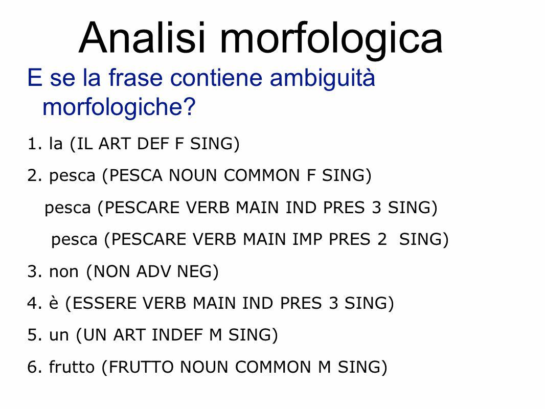 Analisi morfologica E se la frase contiene ambiguità morfologiche.