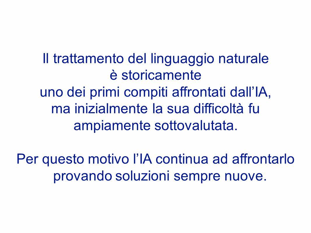 Il trattamento del linguaggio naturale è storicamente uno dei primi compiti affrontati dall'IA, ma inizialmente la sua difficoltà fu ampiamente sottovalutata.