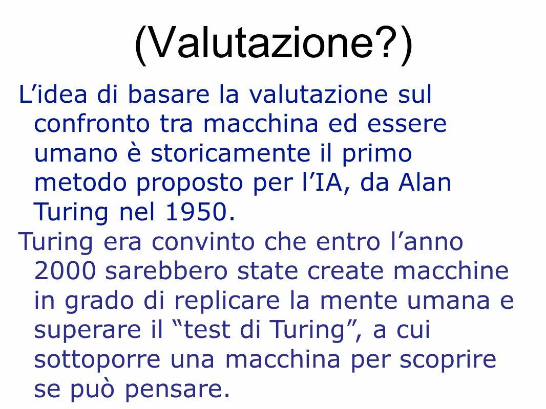 (Valutazione?) L'idea di basare la valutazione sul confronto tra macchina ed essere umano è storicamente il primo metodo proposto per l'IA, da Alan Turing nel 1950.