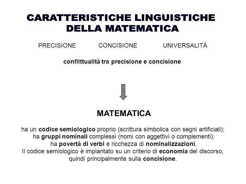 PRECISIONE CONCISIONE UNIVERSALITÀ conflittualità tra precisione e concisione MATEMATICA ha un codice semiologico proprio (scrittura simbolica con segni artificiali); ha gruppi nominali complessi (nomi con aggettivi o complementi); ha povertà di verbi e ricchezza di nominalizzazioni.