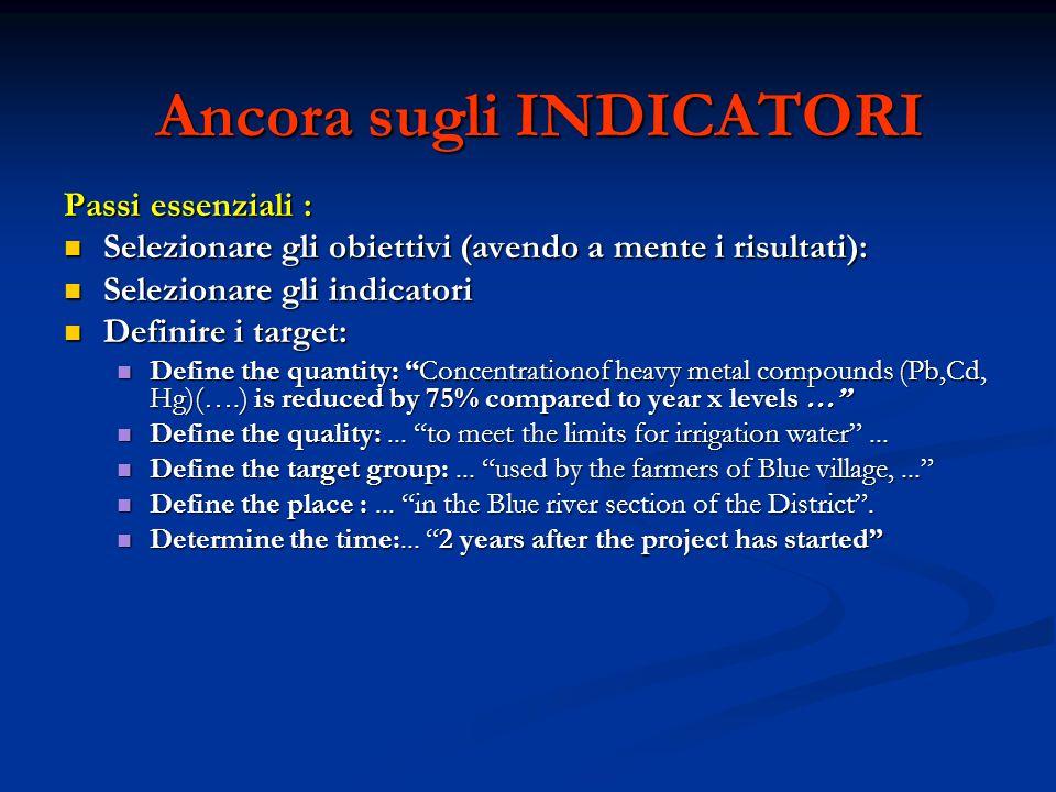 FONTI DI VERIFICA (Quadro logico - Terza colonna) Come e dove trovo le informazioni sui miei indicatori.