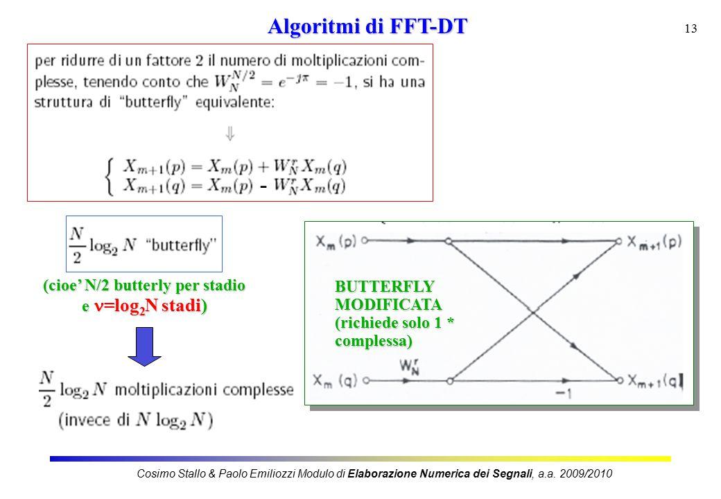 13 Algoritmi di FFT-DT - BUTTERFLYMODIFICATA (richiede solo 1 * complessa) (cioe' N/2 butterly per stadio e =log 2 N stadi) Cosimo Stallo & Paolo Emiliozzi Modulo di Elaborazione Numerica dei Segnali, a.a.