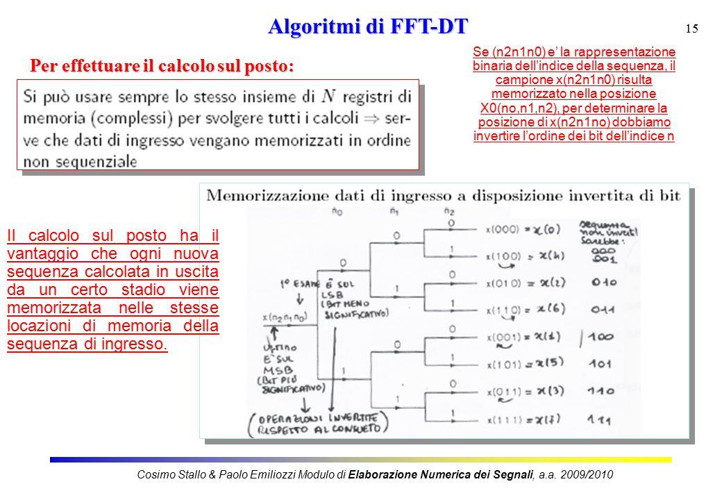15 Algoritmi di FFT-DT Per effettuare il calcolo sul posto: Cosimo Stallo & Paolo Emiliozzi Modulo di Elaborazione Numerica dei Segnali, a.a.