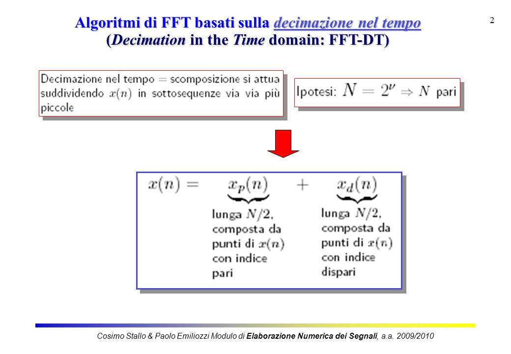 3 Algoritmi di FFT-DT periodo N/2 in k Cosimo Stallo & Paolo Emiliozzi Modulo di Elaborazione Numerica dei Segnali, a.a.