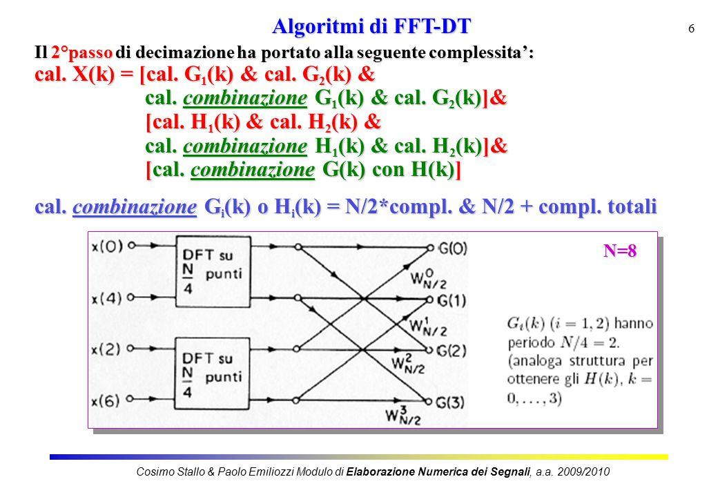 7 Nel generico passo i-mo di decimazione, la struttura del calcolo di X(k) e' la seguente: cal.