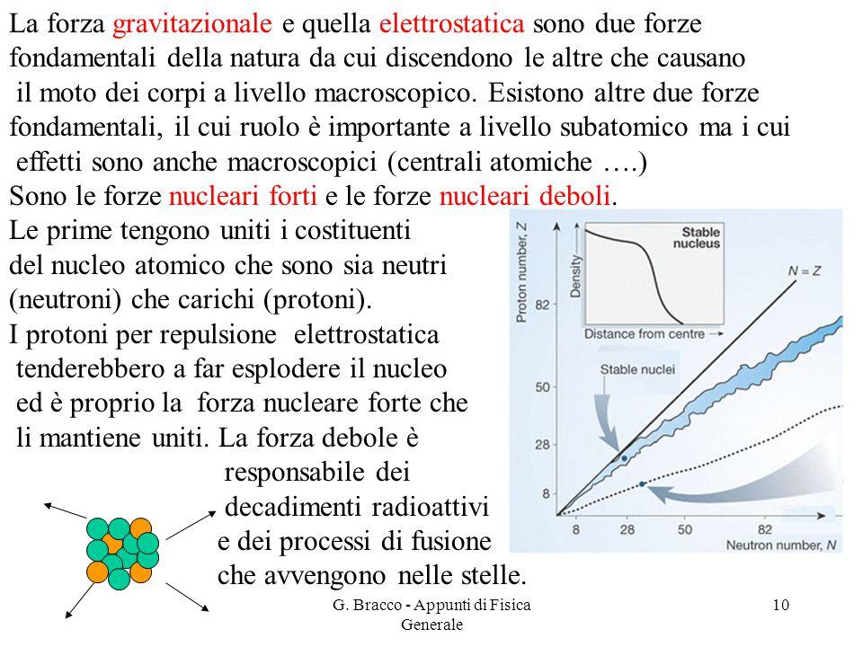 G. Bracco - Appunti di Fisica Generale 10 La forza gravitazionale e quella elettrostatica sono due forze fondamentali della natura da cui discendono l