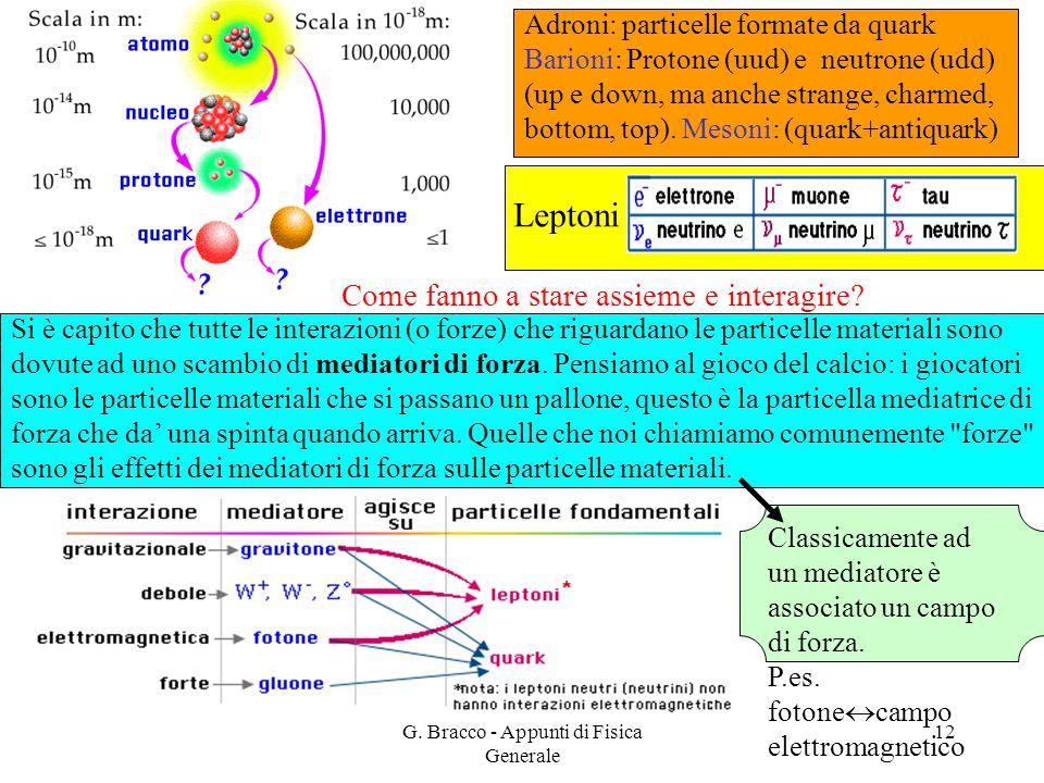 G. Bracco - Appunti di Fisica Generale 12 Si è capito che tutte le interazioni (o forze) che riguardano le particelle materiali sono dovute ad uno sca